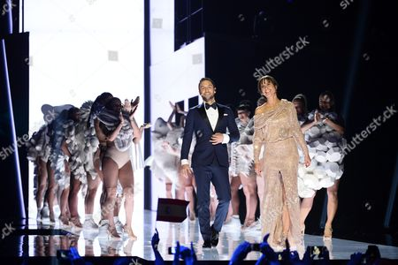 Eurovision Hosts Petra Mede (c-r) and Mans Zelmerlow (c-l) the Eurovision 2015 Winner on Stage During Rehearsals For the Grand Final of the 61st Annual Eurovision Song Contest (esc) at the Ericsson Globe Arena in Stockholm Sweden 13 May 2016 the Grand Final Takes Place on 14 May Sweden Stockholm