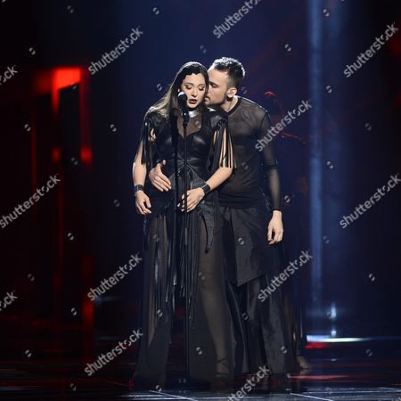 Sanja Vucic (l) of Zaa Representing Serbia Performs During Rehearsals For the Grand Final of the 61st Annual Eurovision Song Contest (esc) at the Ericsson Globe Arena in Stockholm Sweden 13 May 2016 the Grand Final Takes Place on 14 May Sweden Stockholm