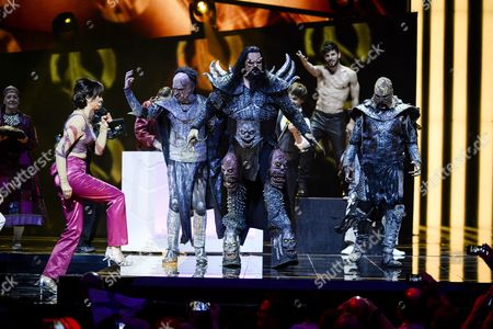 Eurovision Host Petra Mede and Eurovision Song Contest 2006 Winner Finnish Band Lordi Perform During the Second Dress Rehearsal For the Eurovision Song Contest Final in Stockholm Sweden 13 May 2016 the Grand Final Takes Place on 14 May Sweden Stockholm