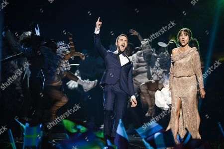 Stock Photo of Co-hosts Mans Zelmerlow the Eurovision 2015 Winner and Petra Mede Warm Up the Audience During the Grand Final of the 61st Annual Eurovision Song Contest (esc) at the Ericsson Globe Arena in Stockholm Sweden 14 May 2016 There Are 26 Finalists From As Many Countries Competing in the Grand Final Sweden Stockholm