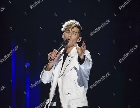 Stock Picture of Donny Montell Representing Lithuania Performs with the Song 'I've Been Waiting For This Night' During the Grand Final of the 61st Annual Eurovision Song Contest (esc) at the Ericsson Globe Arena in Stockholm Sweden 14 May 2016 There Are 26 Finalists From As Many Countries Competing in the Grand Final Sweden Stockholm