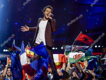 Amir Haddad Representing France Performs with the Song 'J'ai Cherche' During the Grand Final of the 61st Annual Eurovision Song Contest (esc) at the Ericsson Globe Arena in Stockholm Sweden 14 May 2016 There Are 26 Finalists From As Many Countries Competing in the Grand Final Sweden Stockholm