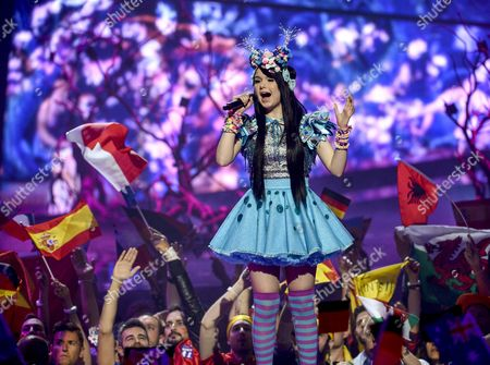 Stock Image of Jamie-lee Kriewitz Representing Germany Performs with the Song 'Ghost' During the Grand Final of the 61st Annual Eurovision Song Contest (esc) at the Ericsson Globe Arena in Stockholm Sweden 14 May 2016 There Are 26 Finalists From As Many Countries Competing in the Grand Final Sweden Stockholm