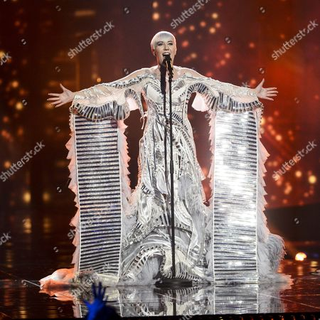 Stock Picture of Nina Kraljic Representing Croatia Performs with the Song 'Lighthouse' During the Grand Final of the 61st Annual Eurovision Song Contest (esc) at the Ericsson Globe Arena in Stockholm Sweden 14 May 2016 There Are 26 Finalists From As Many Countries Competing in the Grand Final Sweden Stockholm
