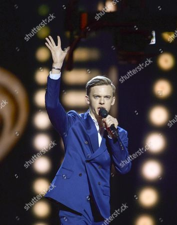 Stock Photo of Estonia's Juri Pootsmann Performs with the Song 'Play' During the First Semi-final of the 61st Annual Eurovision Song Contest (esc) at the Ericsson Globe in Stockholm Sweden 10 May 2016 the Second Semi-final Takes Place on 12 May and the Grand Final is Held on 14 May Sweden Stockholm