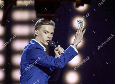 Stock Image of Estonia's Juri Pootsmann Performs with the Song 'Play' During the First Semi-final of the 61st Annual Eurovision Song Contest (esc) at the Ericsson Globe in Stockholm Sweden 10 May 2016 the Second Semi-final Takes Place on 12 May and the Grand Final is Held on 14 May Sweden Stockholm
