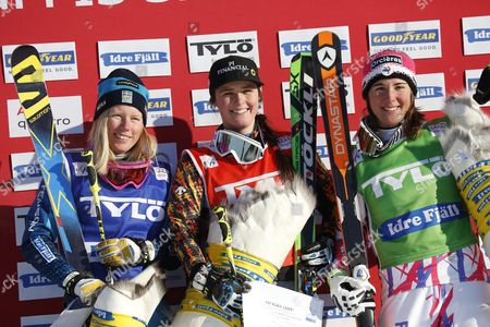 Winner Marielle Thompson of Canada (c) Sweden's Sandra Naslund (l) Second Place and Alizee Baron France (r) Third Place Celebrate on the Podium During the Freestyle Ski Cross World Cup in Idre Sweden 14 February 2016 Sweden Idre