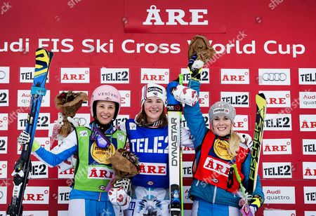 Alizee Baron (c) of France Celebrates on the Podium After Winning the Women's Ski Cross Semi Final at the Freestyle Skiing World Cup in Are Sweden 14 February 2015 Baron Won Ahead of Second Placed Katrin Ofner (l) and Third Placed Andrea Limbacher (r) Both of Austria Sweden Are