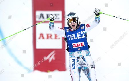 Alizee Baron of France Reacts on Winning the Women's Ski Cross Final at the Freestyle Skiing World Cup in Are Sweden Feb 14 2015 Sweden Are
