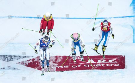 From Left Alizee Baron of France Yulia Livinskaya of Russia Andrea Limbacher and Katrin Ofner Both of Austria Race in the Women's Ski Cross Final at the Freestyle Skiing World Cup in Are Sweden Feb 14 2015 Sweden Are