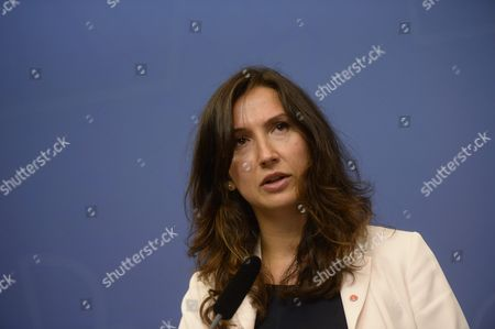 Swedish Minister Aida Hadzialic Speaks During a Press Conference in Stockholm Sweden 13 August 2016 Swedish Minister For Upper Secondary School Adult Education and Training Hadzialic Announced She Would Resign After Having Driven a Car Under the Influence of Alcohol Two Glasses of Wine Sweden Stockholm
