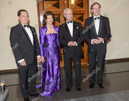 Austrian Andreas Grossbauer (l) Chairman of the Vienna Philharmonic Orchestra and His Precursor Clemens Hellsberg (r) Flank Swedish Queen Silvia (c-l) and King Carl Xvi Gustaf (c-r) Prior to the Award Ceremony of the 'Birgit Nilsson Prize' in the Concert Hall in Stockholm Sweden 08 October 2014 the Vienna Philharmonic Orchestra Will Receive the Music Prize For 2014 in Memory of Swedish Soprano Birgit Nilsson Worth One Million Us Dollars Sweden Stockholm