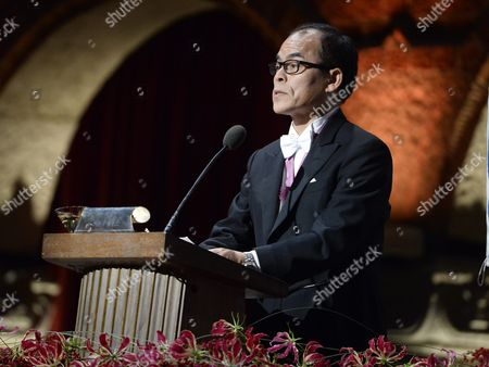 Japanese Nobel Physics Laureate Shuji Nakamura of University of California Santa Barbara Usa Holds a Speech During the Nobel Banquet at the Stockholm Town Hall Sweden 10 December 2014 Sweden Stockholm
