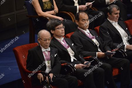 (l-r) Nobel Physics Laureates Professor Isamu Akasaki and Professor Hiroshi Amano of Nagoya University Japan; Isamu Akasaki of Shuji Nakamura of California University Santa Barbara Sitting Together with Nobel Chemistry Laureate Eric Betzig Janelia Research Campus Howard Hughes Medical Institute Ashburn Usa During the Nobel Award Ceremony at the Concert Hall in Stockholm Sweden 10 December 2014 Sweden Stockholm