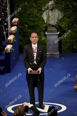 Nobel Physics Laureates Japan's Professor Shuji Nakamura of University of California Santa Barbara Ca Usa Bows After Receiving the Diploma and Medal From the King During the Nobel Award Ceremony at the Concert Hall in Stockholm Sweden 10 December 2014 Sweden Stockholm