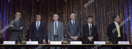 (l-r) Frenche Jean Tirole Nobel Laureate in Economic Sciences Us Eric Betzig Us William E Moerner German Stefan W Hell All Nobel Laureates in Chemistry and Japanese Scientists Hiroshi Amano and Shuji Nakamura Both Nobel Laureates in Physics Attend a Press Conference in Stockholm Sweden 07 December 2014 Nobel Laureates Meet in Stockholm During the 'Nobel Week' to Attend Press Conferences Lectures and Other Events From 06 to 12 December the Nobel Prize Award Ceremony and the Nobel Banquet Will Take Place in Oslo on 10 December Sweden Stockholm