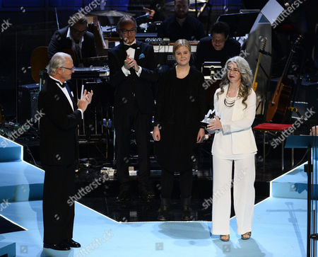 Scottish Percussionist Dame Evelyn Glennie (r) is Presented with the Polar Music Prize 2015 Handed Over by Sweden's King Carl Gustaf (l) During the Award Ceremony Held at the Stockholm Concert Hall in Stockholm Sweden 09 June 2015 Sweden Stockholm
