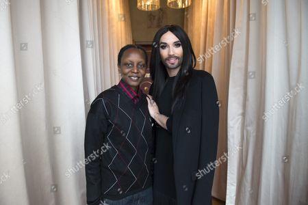 Austrian Singer Conchita Wurst (r) and Ugandan Lgbt Rights Activist Kasha Jacqueline Nabagesera (l) Pose During a Press Meeting in Stockholm Sweden 27 November 2015 Nabagesera Visits Stockholm As Recipient of the 2015 Right Livelihood Award Often Called the 'Alternative Nobel Prize' Sweden Stockholm