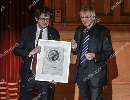 British Journalist Author and Editor of the Guardian Alan Rusbridger (l) Receives the Right Livelihood Award From Jakob Von Uexkull (r) During the Right Livelihood Award Ceremony at the 2nd Chamber Hall at the Swedish Parliament in Stockholm Sweden 01 December 2014 Rusbridger Receives the Award ' For Building a Global Media Organisation Dedicated to Responsible Journalism in the Public Interest Undaunted by the Challenges of Exposing Corporate and Government Malpractices ' the Right Livelihood Award was Founded by Journalist and Professional Philatelist Jakob Von Uexkull in 1980 Sweden Stockholm