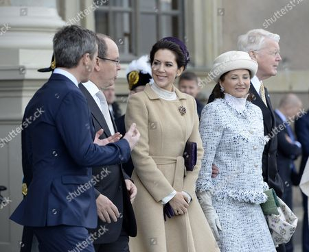 (l-r) Crown Prince Frederik of Denmark Prince Albert of Monaco Crown Princess Mary of Denmark and Dorrit Moussaieff Wife of Icelandic President Olafur Ragnar Grimsson (r) Attend Celebrations in Stockholm Sweden 30 April 2016 on Occasion of King Carl Xvi Gustaf of Sweden's 70th Birthday Sweden Stockholm