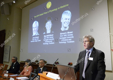 Professor Ole Kiehn (r) of Karolinska Institute Speaks During the Announcement of the Nobel Prize in Medicine Winnersin Stockholm Sweden 06 October 2014 Us-british Scientist John O'keefe and Norwegian Husband and Wife Edvard Moser and May-britt Moser Have Won the Nobel Prize in Medicine For Discoveries of Cells That Constitute a Positioning System in the Brain Sweden Stockholm