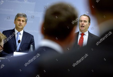 Austrian Finance Minister Michael Spindelegger (left) and His Swedish Counterpart Anders Borg Anwer Questions From the Media During a Presser at the Ministry of Finance in Stockholm Sweden June 17 2014 Sweden Stockholm