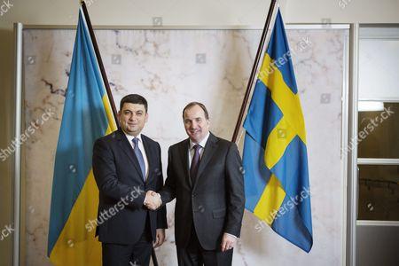 Stock Image of Ukraine's Speaker of Parliament Volodymyr Groisman and Sweden's Prime Minister Stefan L÷fven Meets at Rosenbad in Stockholm Sweden 17 November 2015 Sweden Stockholm