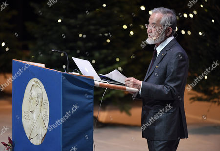 The 2016 Nobel Medicine Prize Laureate Yoshinori Ohsumi From Japan Holds His Nobel Lecture at the Karolinska Institutet in Solna Stockholm Sweden 07 December 2016 the 2016 Nobel Prizes Will Be Awarded on 10 December in Stockholm and Oslo Sweden Stockholm