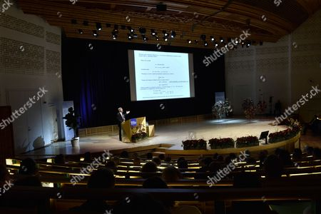 Stock Photo of Nobel Prize in Physics Laureate British Born-american Physicist J Michael Kosterlitz Holds His Nobel Lecture at the Aula Magna Lecture Hall at the Stockholm University in Stockholm Sweden 08 December 2016 the Nobel Prize Award Ceremony 2016 Will Happen on 10 December 2016 Sweden Stockholm
