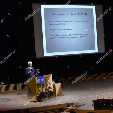 Stock Photo of The Sveriges Riksbank Prize in Economic Sciences in Memory of Alfred Nobel Laureate Bengt Holmstr÷m Holds His Nobel Lecture at the Aula Magna Lecture Hall at the Stockholm University in Stockholm Sweden 08 December 2016 the Nobel Prize Award Ceremony 2016 Will Happen on 10 December 2016 Sweden Stockholm