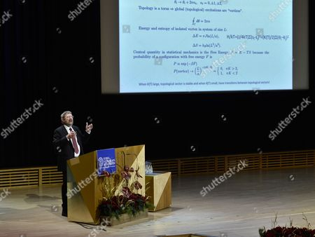 Nobel Prize in Physics Laureate British Born-american Physicist J Michael Kosterlitz Holds His Nobel Lecture at the Aula Magna Lecture Hall at the Stockholm University in Stockholm Sweden 08 December 2016 the Nobel Prize Award Ceremony 2016 Will Happen on 10 December 2016 Sweden Stockholm