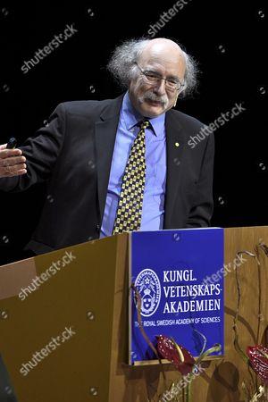 Nobel Prize in Physics Laureate British F Duncan M Haldane Holds His Nobel Lecture at the Aula Magna Lecture Hall at the Stockholm University in Stockholm Sweden 08 December 2016 the Nobel Prize Award Ceremony 2016 Will Happen on 10 December 2016 Sweden Stockholm