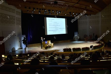 Nobel Prize in Physics Laureate British J Michael Kosterlitz Holds His Nobel Lecture at the Aula Magna Lecture Hall at the Stockholm University in Stockholm Sweden 08 December 2016 the Nobel Prize Award Ceremony 2016 Will Happen on 10 December 2016 Sweden Stockholm