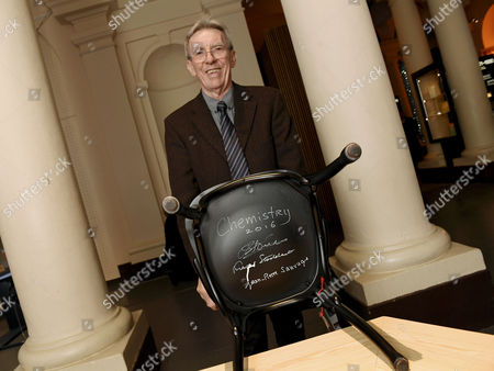 French Chemist and Nobel Peace Prize Laureate 2016 Jean Pierre Sauvage Shows the Chair He Signed During the Nobel Laureates Chair Signing Ceremony at the Nobel Museum in Stockholm Sweden 06 December 2016 Laureates Signing Their Own Chairs is a Tradition at the Museum Sweden Stockholm