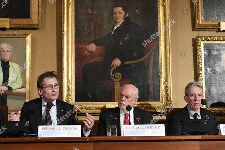 Nobel Prize Laureates (l-r) Dutch Chemist Bernard L Feringa British Chemist Fraser Stoddart and French Chemist Jean Pierre Sauvage Attend a Press Conference at the Royal Swedish Academy in Stockholm Sweden 07 December 2016 Sweden Stockholm