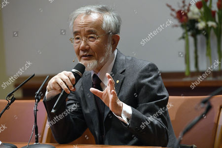 Nobel Medicine Prize Laureate Yoshinori Ohsumi From Japan Answers Questions During a Press Conference at the Karolinska in Solna Sweden 07 December 2016 Ohsumi Won the Nobel Prize For His Work on How the Bodys Cells Break Down and Recycle Their Own Components Sweden Solna