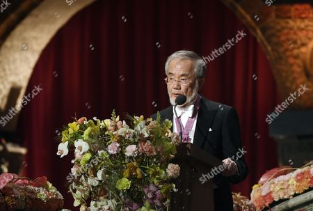 Medicine Laureate Yoshinori Ohsumi Delivers His Banquet Speech at the 2016 Nobel Prize Banquet at the Stockholm City Hall in Stockholm Sweden 10 December 2016 Sweden Stockholm