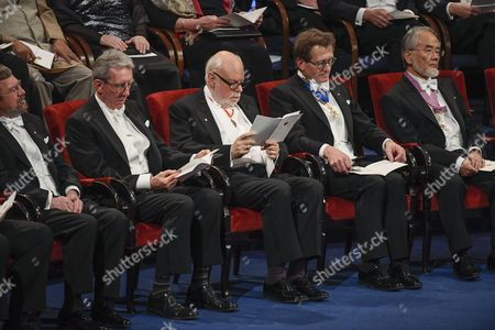 (l-r) 2016 Nobel Laureates: Michael Kosterlitz From Britain Jean-pierre Sauvage From France Sir J Fraser Stoddar From Britaint Bernard L Feringa From the Netherlands and Yoshinori Ohsumi From Japan Attend the 2016 Nobel Prize Award Ceremony at the Stockholm Concert Hall in Stockholm Sweden 10 December 2016 Sweden Stockholm