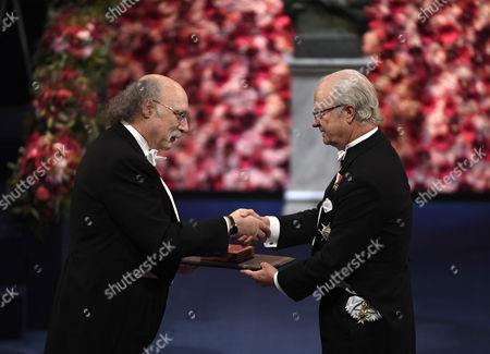 Stock Photo of Nobel Physics Laureate and British Physicist F Duncan M Haldane (l) Receives the Nobel Prize From King Carl Gustaf (r) of Sweden Attend the 2016 Nobel Prize Award Ceremony at the Stockholm Concert Hall in Stockholm Sweden 10 December 2016 Sweden Stockholm