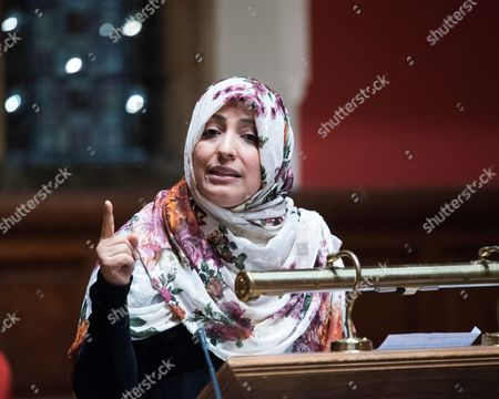 Stock Picture of Tawakel Karman, Yemeni journalist, politician and human rights activist, Awarded Nobel Peace Prize in 2011 and Founder of 'Women Journalists without Chains'