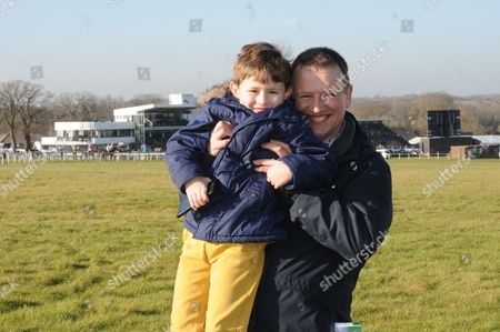 Stock Image of ITV Racing commentator Richard Hoiles with son Tom at Plumpton.