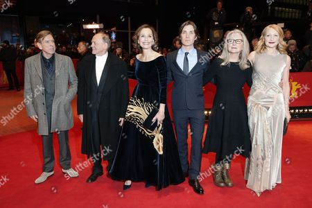 (L-R) British actor Timothy Spall, Swiss actor Bruno Ganz, British actress Kristin Scott Thomas, Irish actor Cillian Murphy, Sally Potter and US actress Patricia Clarkson arrive for the premiere of 'The Party' during the 67th annual Berlin Film Festival, in Berlin, Germany, 13 February 2017. The movie is presented in the Official Competition at the Berlinale that runs from 09 to 19 February.