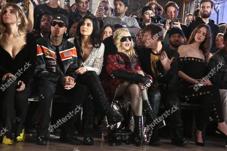 Carine Restoin-Roitfeld, Tyga, Kylie Jenner, Madonna, Steven Klein in the front row