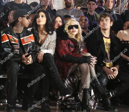 Tyga, Kylie Jenner, Madonna, Steven Klein in the front row