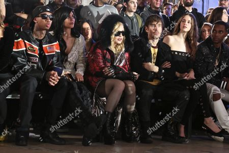 Tyga, Kylie Jenner, Madonna, Steven Klein, Victor Cruz in the front row