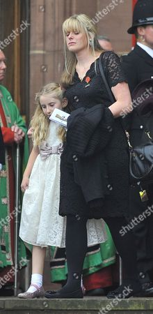 Funeral Of Murdered Merseyside Police Officer Pc Dave Phillips At Liverpool Anglican Cathedral Liverpool Merseyside.wife Jen Phillips With Daughter Abigail.