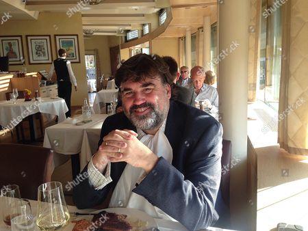 Editorial photo of Martin Samuel Visits Restaurant Sonnenberg Zurich Where Disgraced Fifa President Sepp Blatter Would Often Dine. David Elleray Sitting On The Table Behind.