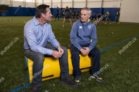 Warrington Wolves Rugby League Player Roger Draper Talking With Pete Moran Fitness Support Coach