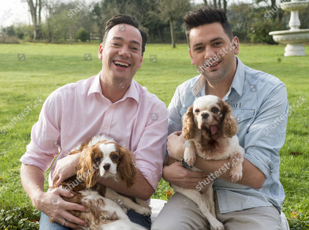 'strictly Come Dancing' Judge Craig Revel Horwood With His Partner Damon Scott And Their Two Dogs Sophie Who Has A Terminal Heart Condition And New Puppy Charlie A Rescue Dog From Battersea Dog Trust..
