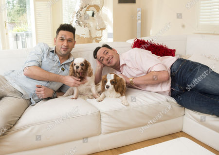 'strictly Come Dancing' Judge Craig Revel Horwood With His Partner Damon Scott And Their Two Dogs Sophie Who Has A Terminal Heart Condition And New Puppy Charlie A Rescue Dog From Battersea Dog Trust.